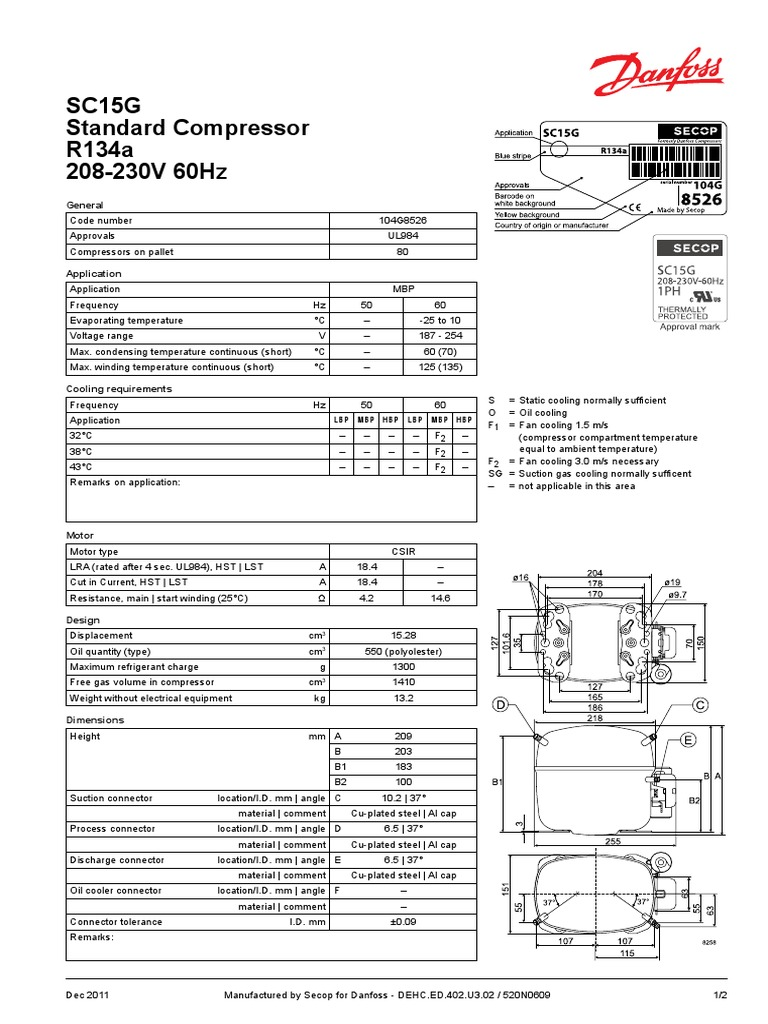 SC15G Standard Compressor R134a 208 a 230V 60Hz | Electrical ... on