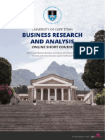 Uct Business Research and Analysis Short Course Information Pack