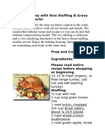 Holiday Turkey With Rice Stuffing Gravy With Fresh Herbs