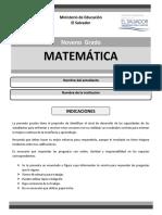 Prueba Matemática Noveno Grado