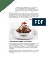 Cara Membuat Es Krim Yang Lembut