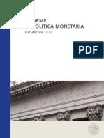 Informe de Politica Monetaria Dic 2016