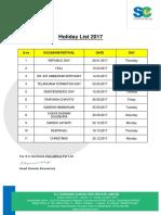 Holiday List 2017