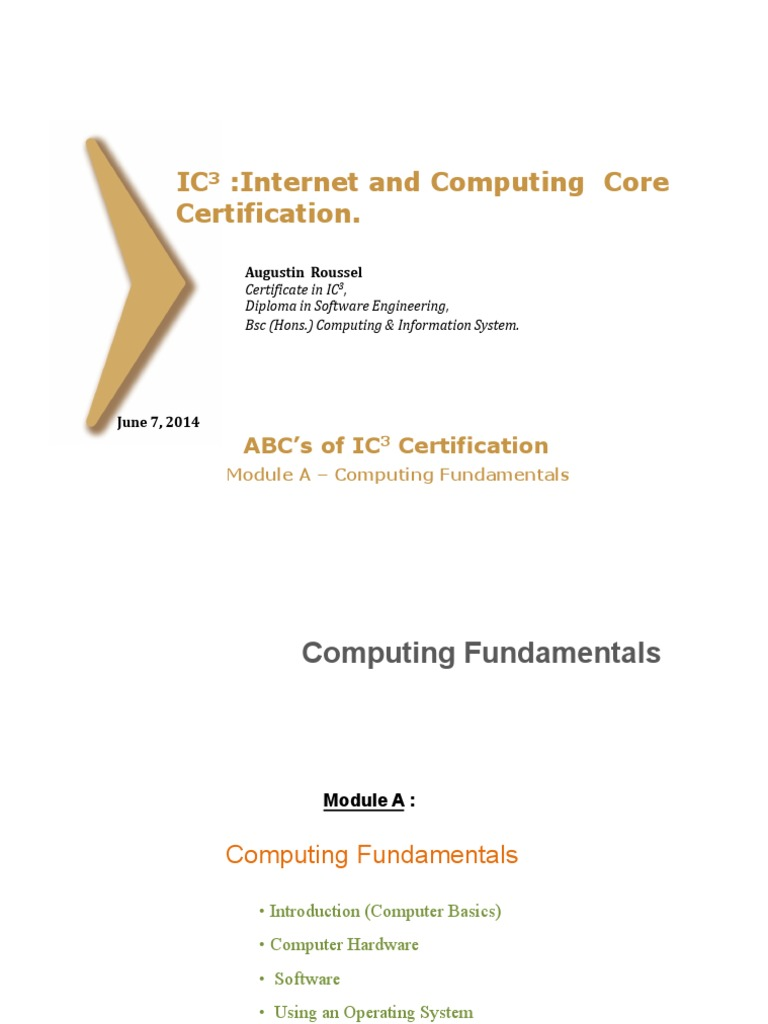 Ic3 Computingfundamentals Introduction By Augustin Roussel