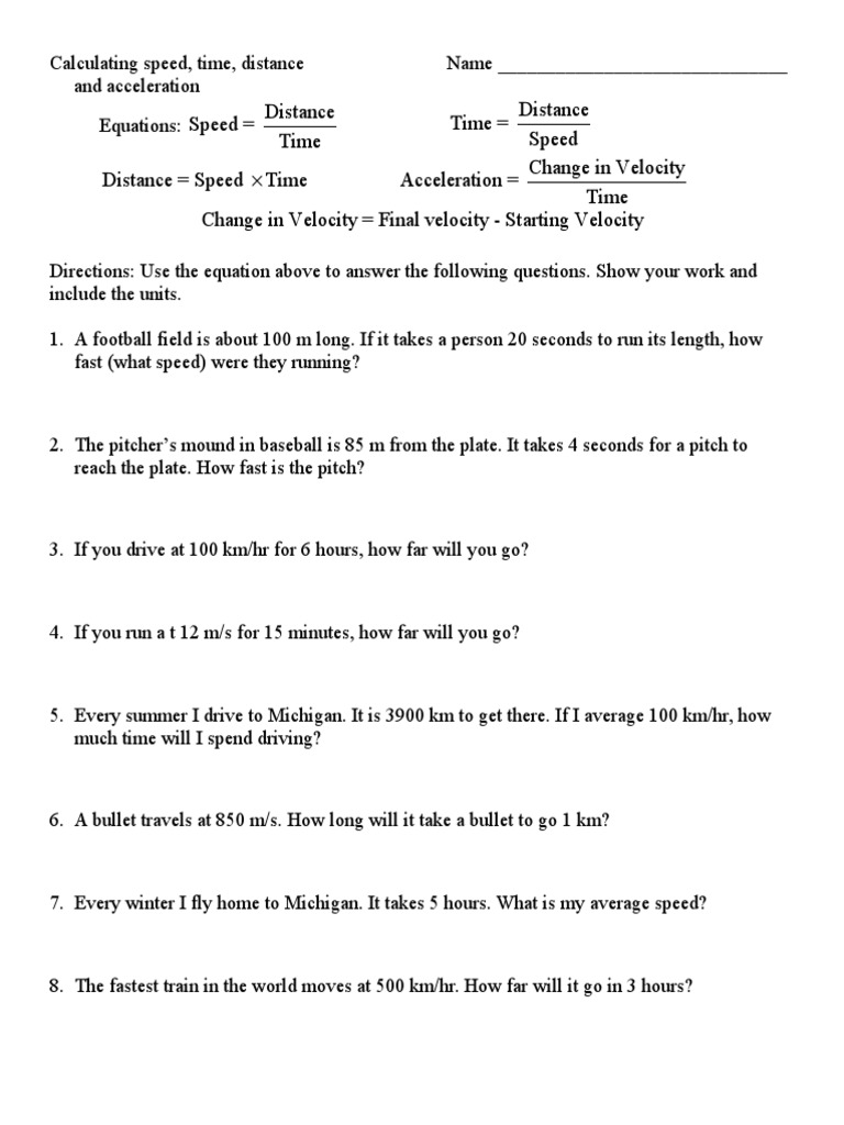 worksheet Acceleration Calculations Worksheet calculating speed doc velocity