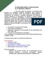 Que Hacer Para Mejorar La Educacion en La Region Loreto