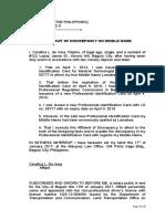 Affidavit on Discrepancy on Middle Name