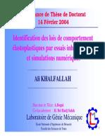 Identification du lois de comportement des matériaux