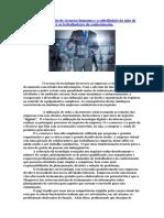 A Tecnologia Na Gestão de Recursos Humanos e a Substituição Da Mão de Obra Tradicional Para Os Trabalhadores Do Conhecimento