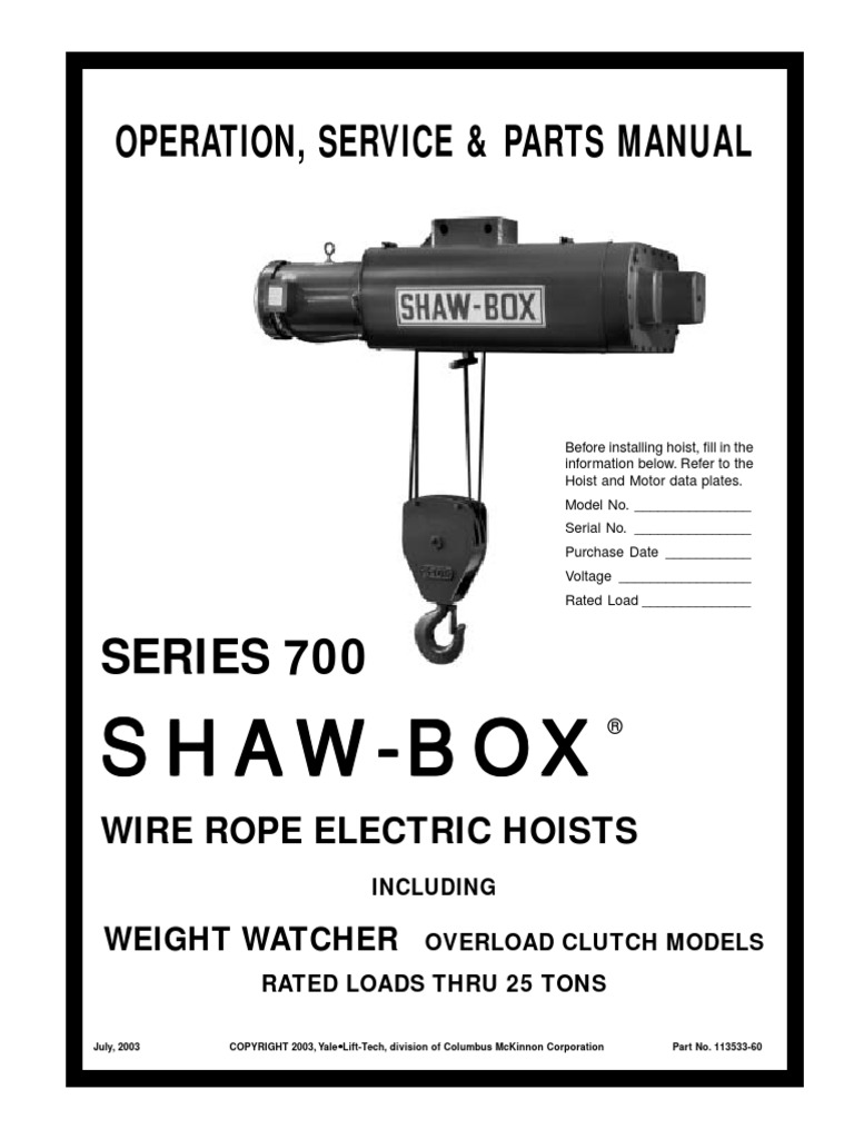 Manual Shaw-Box SERIE 700.pdf | Elevator | Switch on