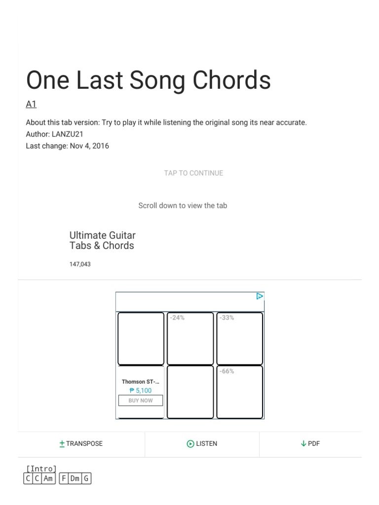 One Last Song Chords Ver 2 By A1 Ultimate Guitar Song
