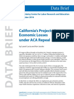 UC Berkeley California Projected Economic Losses Under ACA Repeal