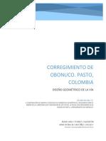 Corregimiento de Obonuco. Diseño de vías-Colombia