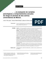 Instrumento para la evaluación de variables psicológicas y comportamientos sexuales de riesgo en jóvenes de dos centros universitarios de México