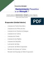 Mantenimiento Preventivo MiniSplit