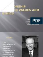Relationship Between Values and Ethics