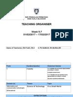 Tch Organiser -Week 5-7