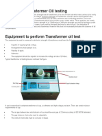 Tranformer Oil Testing Procedure