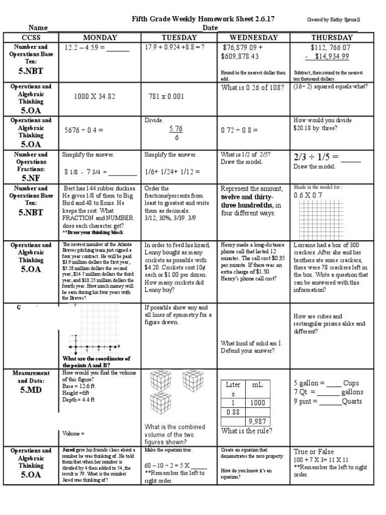 weekly homework sheet 5