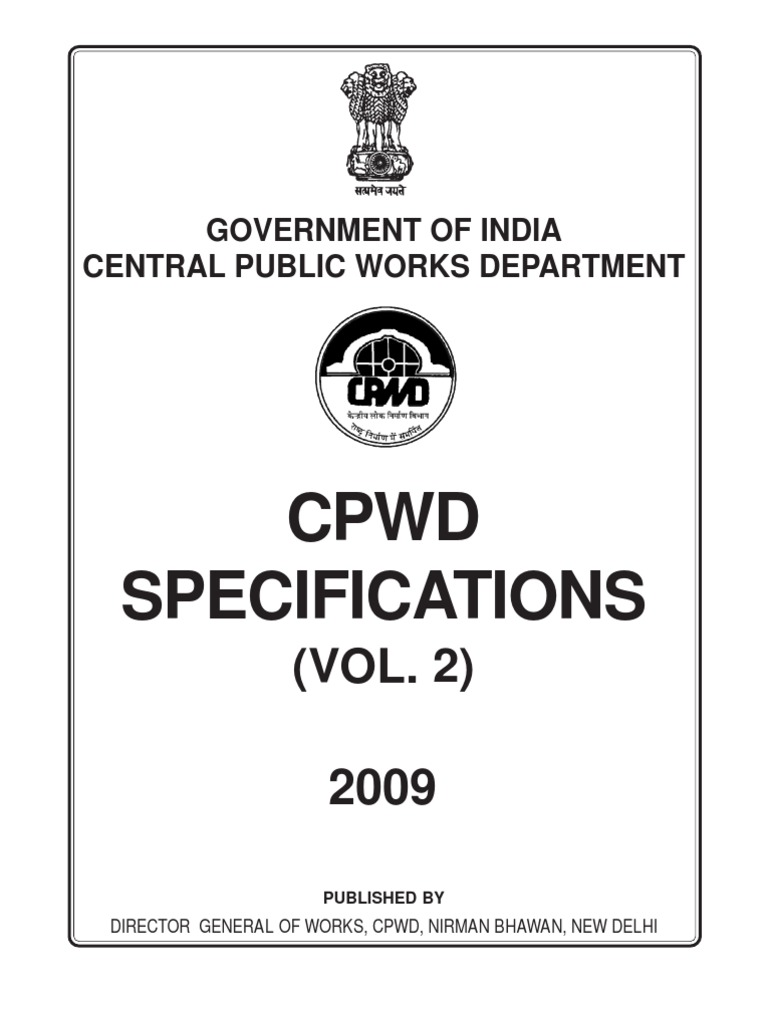 Cpwd Specification 2009 Pdf