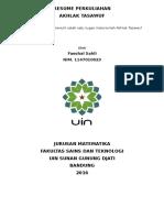 Resume Perkuliahan Akhlak Tasawuf - Faeshal Sahli (Nim 1147010023)