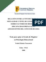 Masias Isabel - Relación entre actitudes hacia la Sexualidad y nivel de conocimiento Sobre factores de riesgo de Discapacidad prenatal.pdf