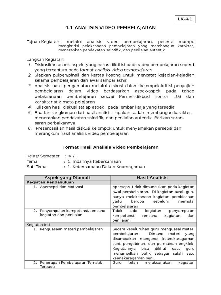 Lk 4 1 Analisis Video Pembelajaran