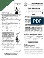 Chicago Math League Sample questions