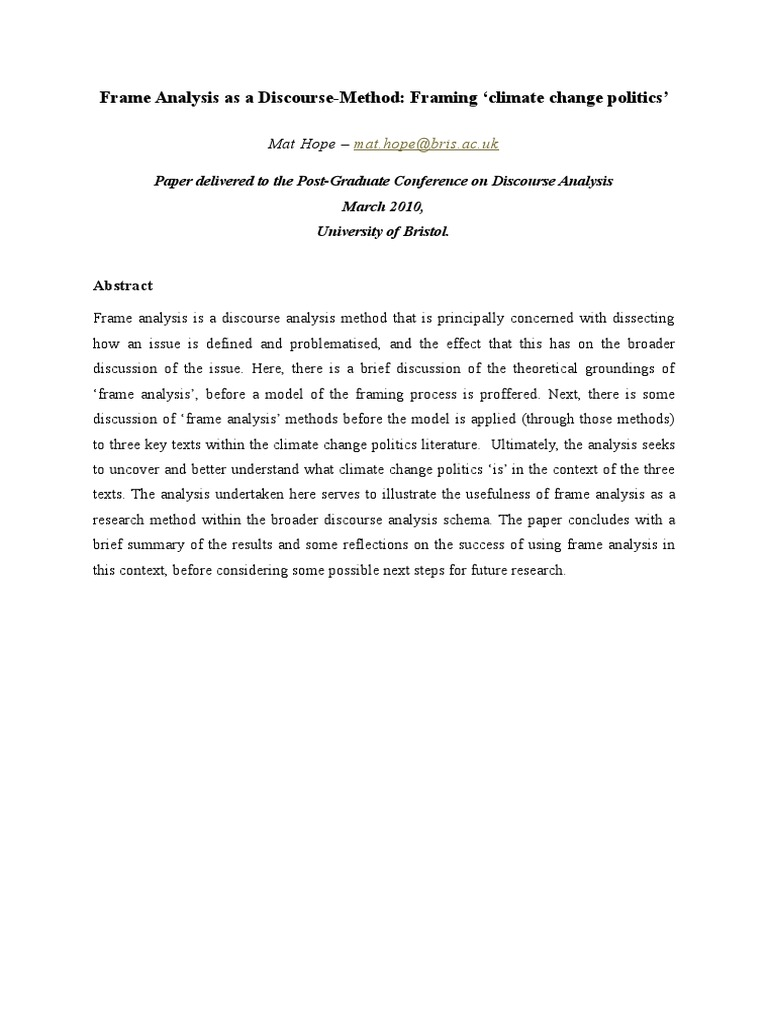 Frame Analysis as a Discourse Method - Framing Climate Change ...