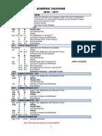 Academic Calendar 2016-2017