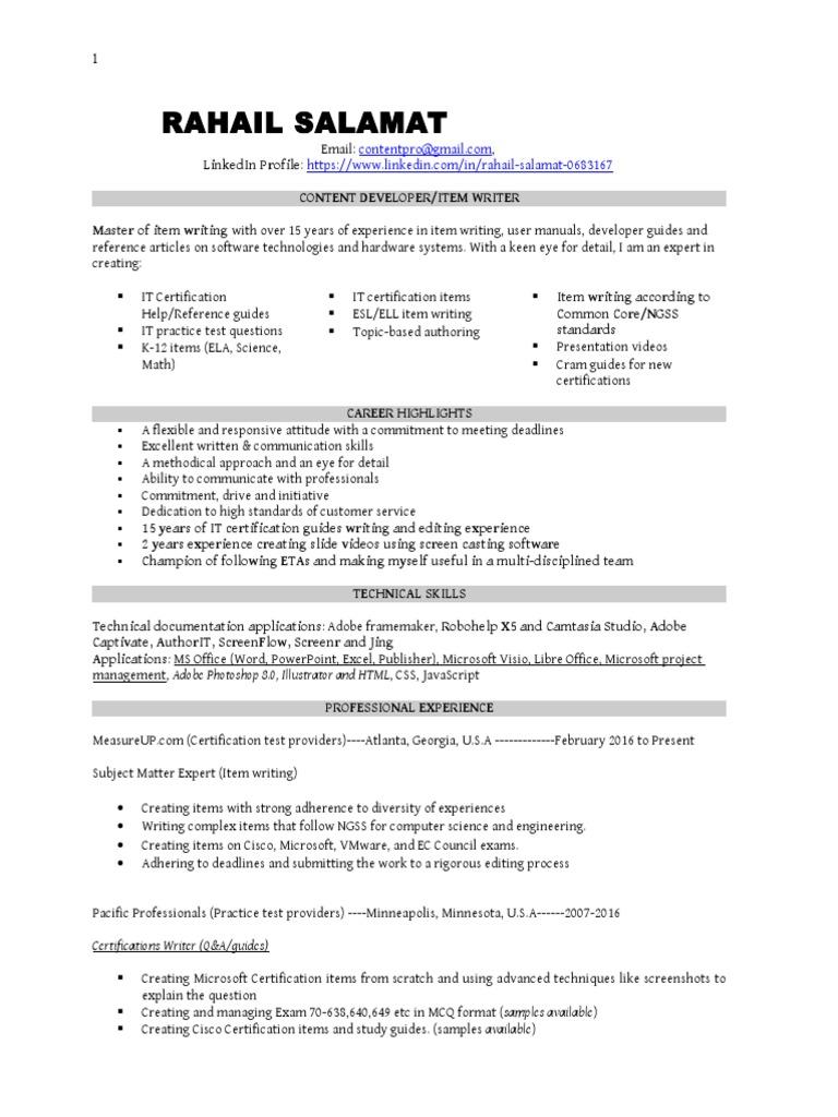 Rahail Salamat Item Writer Professional Certification Comp Tia