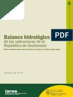 Balance Hidrologico Subcuencas de Guatemala