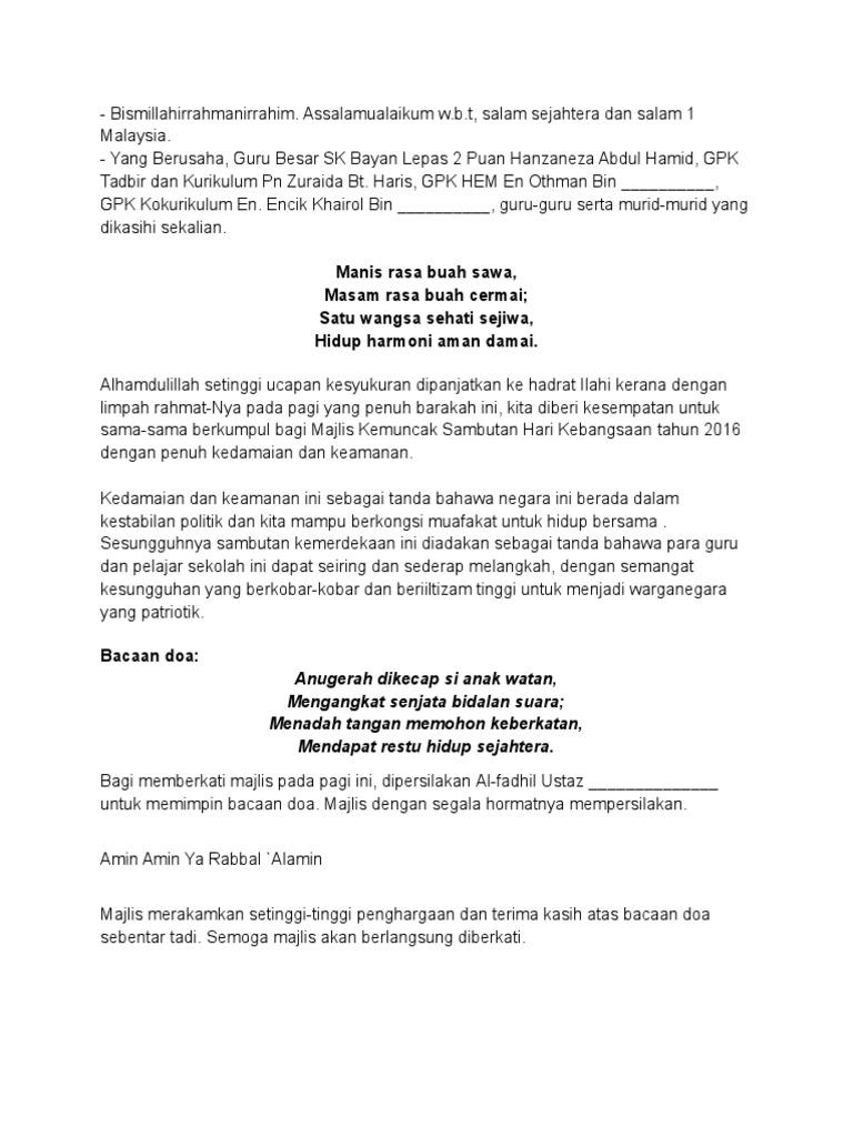 Teks MC Majlis Penutupan Bulan Kemerdekaan 2016 SKBL2