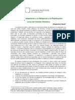 Integrando Mitigación y Adaptación Planificación Local del Cambio Climático. Elisabeth M. Hamin