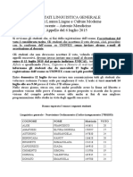 Risultati Linguistica Generale 6 Luglio 2015