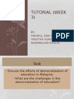 Tutorial (Week 3) Teacher and current challenges