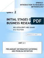 Dpb5023 Unit 2.1 Initial Stages of Business Research