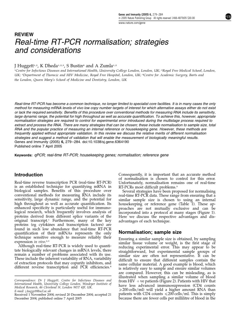 Real-time RT-PCR normalisation.pdf | Reverse Transcription Polymerase Chain  Reaction | Real Time Polymerase Chain Reaction