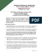ISI Admission Notice 2017