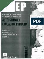 A-EP Cuestionario de Evaluación de La Autoestima en Primaria