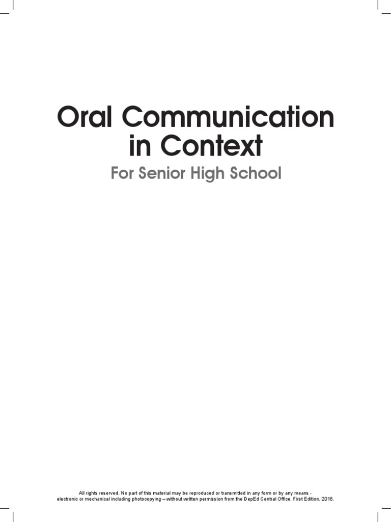 Oral Communication in Context LM for SHS.pdf   Nonverbal Communication    Public Speaking