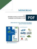 Libro de Memorias Congreso de Investigación en turismo UTE 2016
