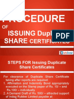 Step by Step Process for Issuing Duplicate Share Certificates