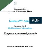 Livret 2 éme Année Mathématiques / Informatique S3 et S4