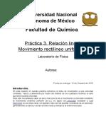 Práctica 3. Relación Lineal (Movimiento Rectilineo Uniforme)