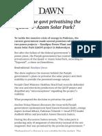 Why is the Govt Privatising the Quaid-e-Azam Solar Park_ - Pakistan - DAWN
