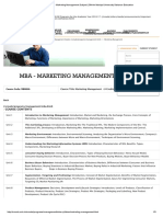 MBA Syllabus - Marketing Management Subject