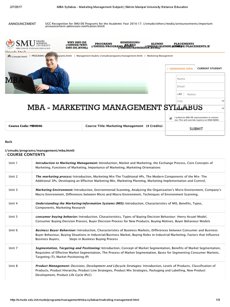 Mba Syllabus Marketing Management Subject Consumer Behaviour Brand
