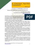Bienvenida del presidente de la SOMECRIMNL al volumen VIII