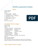 Various Sports Leagues in India